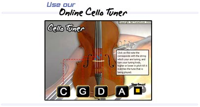 Get Tuned using our online cello tuner